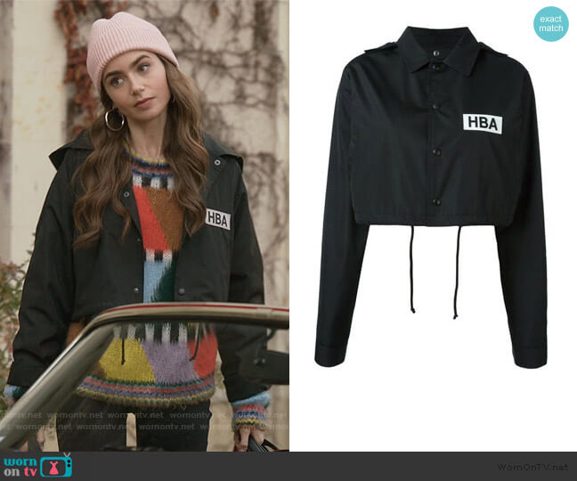 Logo Print Cropped Jacket by Hood By Air worn by Emily Cooper (Lily Collins) on Emily in Paris