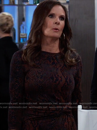 Lucy's snakeskin twist front dress on General Hospital