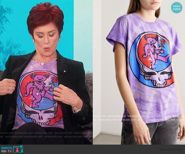 Grateful Dead distressed printed cotton-jersey T-shirt by Madeworn worn by Sharon Osbourne  on The Talk