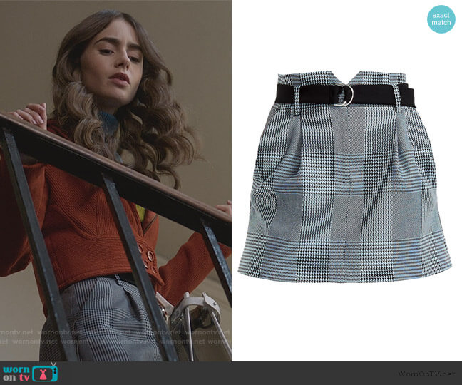 Jadie Prince Of Wales Check Mini A-Line Skirt by Maje worn by Emily Cooper (Lily Collins) on Emily in Paris
