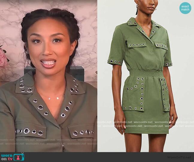 Ramil cotton-twill mini dress by Maje worn by Jeannie Mai  on The Real