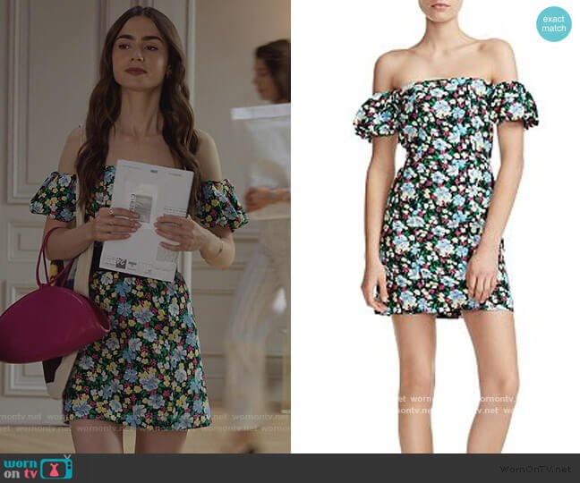 Rapy Floral Off-the-Shoulder Dress by Maje worn by Emily Cooper (Lily Collins) on Emily in Paris