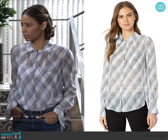 Malcah Blouse by Joie worn by Elena Dawson (Brytni Sarpy) on The Young & the Restless