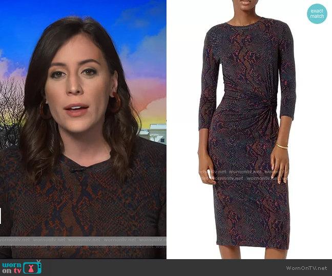 Meika Snakeskin Print Gathered Midi Dress by Joie worn by Hallie Jackson on Today