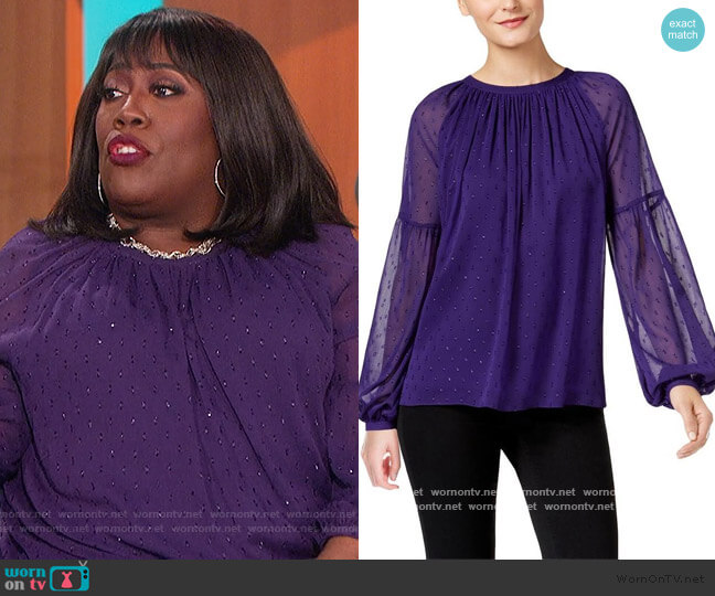 Peasant Top Sheer Embellished by Michael Kors worn by Sheryl Underwood  on The Talk