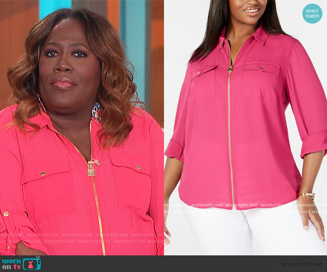 Plus Size Zip-Front Utility Shirt by Michael Kors worn by Sheryl Underwood  on The Talk