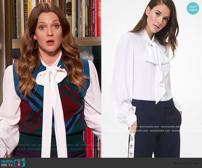 Silk Georgette Tie-Neck Blouse by Michael Kors worn by Drew Barrymore  on The Drew Barrymore Show