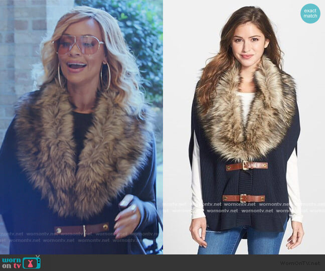Faux Fur Trim Buckle Poncho by Michael Michael Kors worn by Gizelle Bryant  on The Real Housewives of Potomac