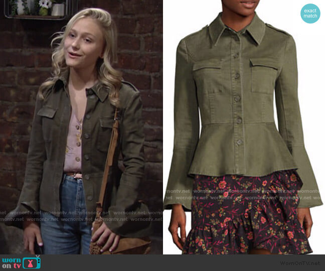 Military Peplum Jacket by Scripted worn by Faith Newman (Alyvia Alyn Lind) on The Young & the Restless