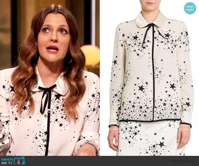St Stars Marocain Silk Blouse by Miu Miu worn by Drew Barrymore  on The Drew Barrymore Show