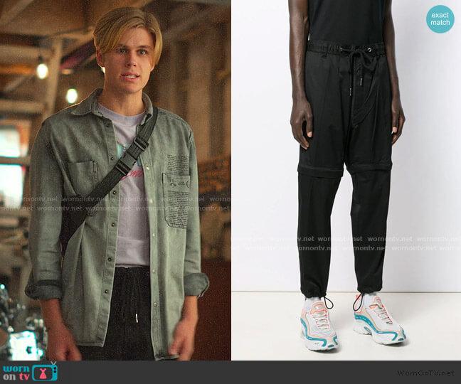 Mixed-Media Regular Fit Convertible Pants by Diesel worn by Owen Joyner on Julie and the Phantoms