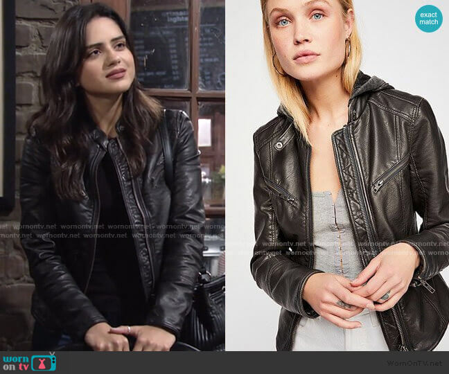 Monroe Hooded Jacket by Free People worn by Lola Rosales (Sasha Calle) on The Young & the Restless