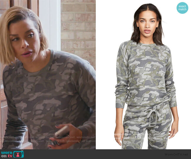 Grey Camo Raglan Sweatshirt by Monrow worn by Robyn Dixon  on The Real Housewives of Potomac