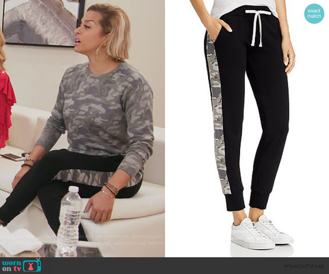 Sporty Camo-Stripe Sweatpants by Monrow worn by Robyn Dixon  on The Real Housewives of Potomac