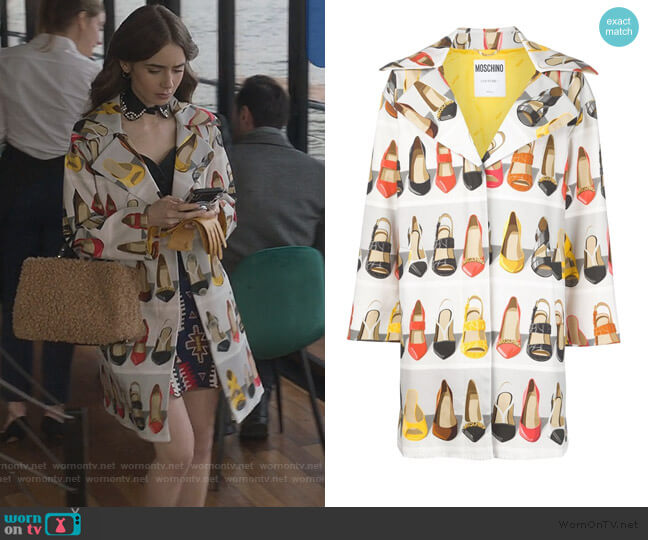 Shoe Print Coat In Light Grey by Moschino worn by Emily Cooper (Lily Collins) on Emily in Paris