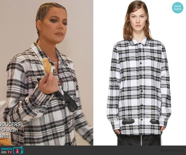 Check Diagonal Spray Shirt by Off-White worn by Khloe Kardashian  on Keeping Up with the Kardashians