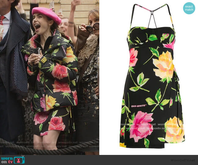 floral mini dress by Off-White worn by Emily Cooper (Lily Collins) on Emily in Paris