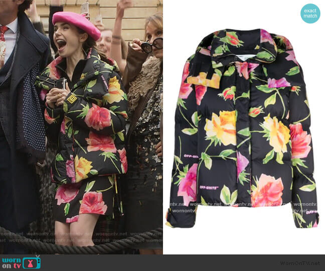 floral-print puffer jacket by Off-White worn by Emily Cooper (Lily Collins) on Emily in Paris