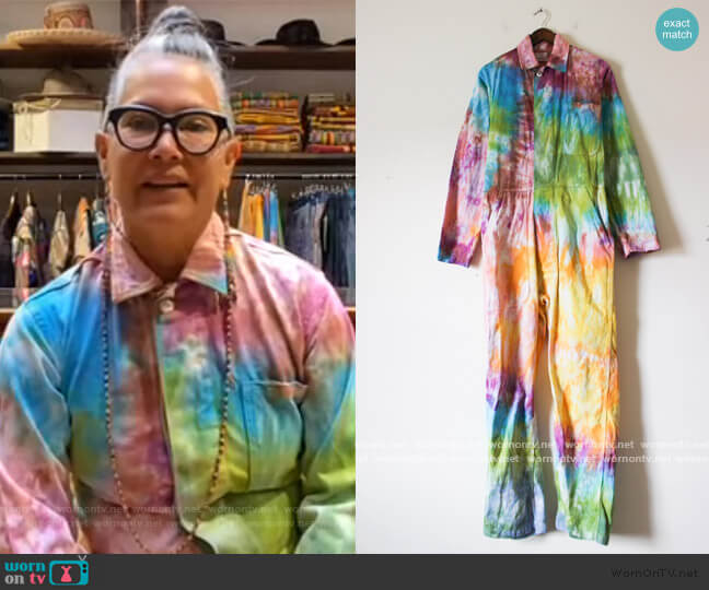 Upcycled VIntage Military Flysuit- Rainbow Vortex by Orenda Tribe worn by Amy Yeung on the Tamron Hall Show