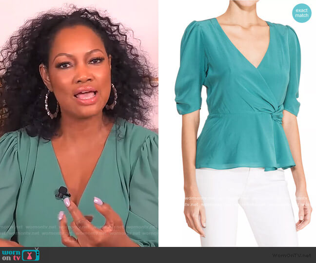 Juniper Wrap Silk Blouse by Parker worn by Garcelle Beauvais  on The Real