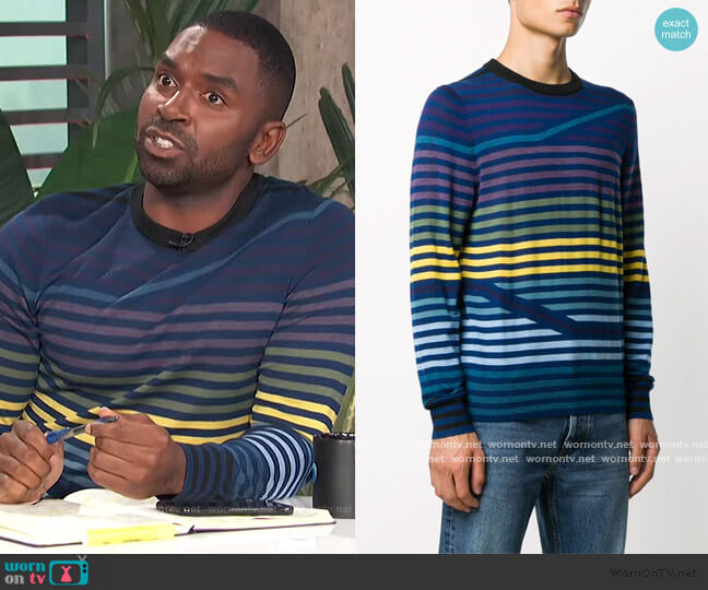 striped-pattern crew neck jumper by PS Paul Smith worn by Justin Sylvester  on E! News