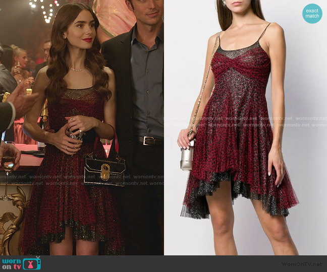 Leopard Print Mini Dress by Philosophy Di Lorenzo Serafini worn by Emily Cooper (Lily Collins) on Emily in Paris