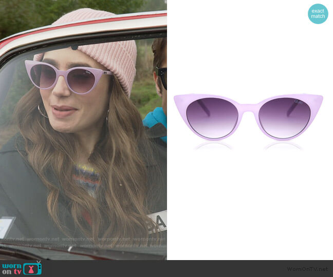 Aphrodite Sunglasses by Quay worn by Emily Cooper (Lily Collins) on Emily in Paris