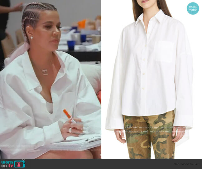 Oversized Poplin Shirt by R13 worn by Khloe Kardashian  on Keeping Up with the Kardashians