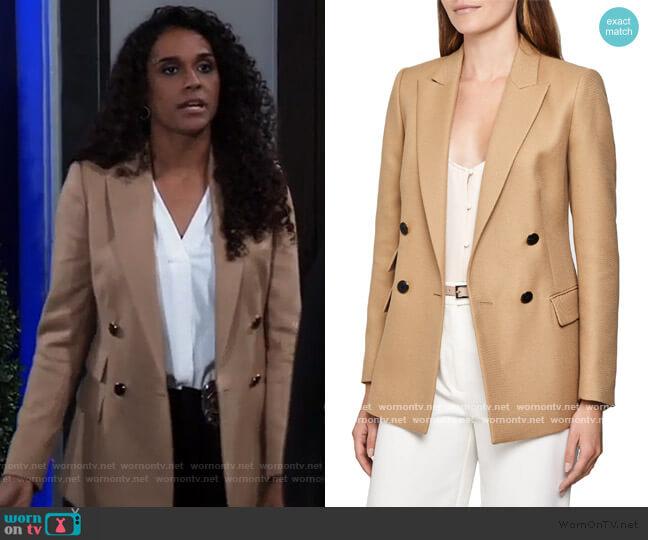 Ledbury Double Breasted Wool Blend Jacket by Reiss worn by Jordan Ashford (Briana Nicole Henry) on General Hospital