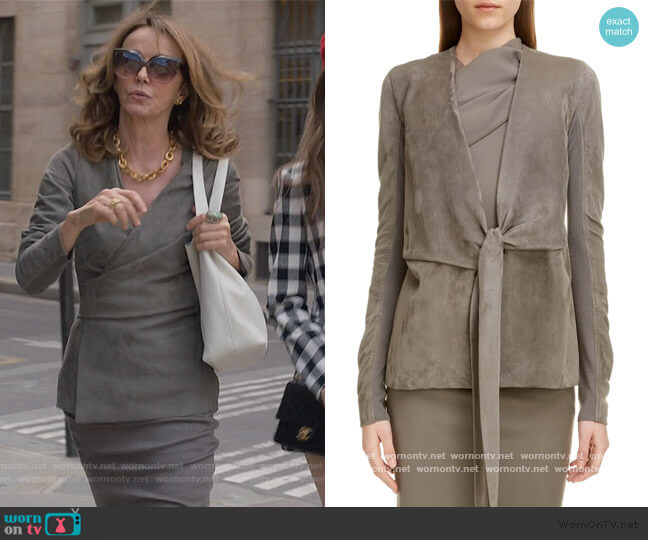 Suede Wrap Jacket by Rick Owens worn by Philippine Leroy-Beaulieu on Emily in Paris