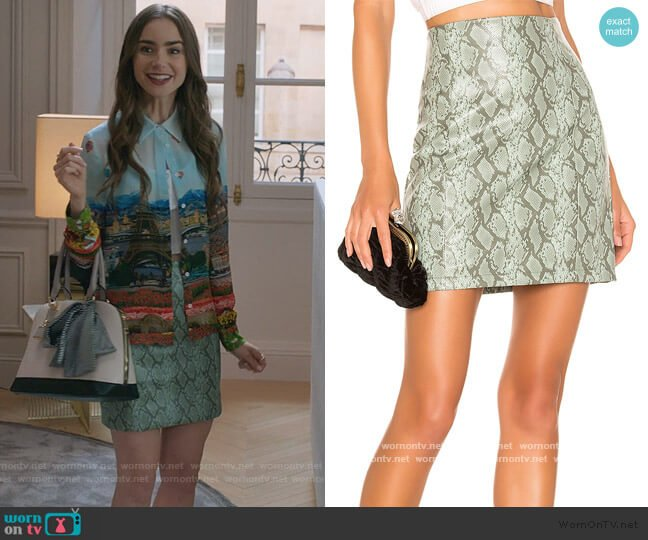 Rida Skirt by Ronny Kobo worn by Emily Cooper (Lily Collins) on Emily in Paris