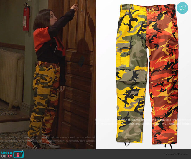 Split Yellow and Orange Camo Cargo Pants by Rothco worn by Tess O'Malley (Sky Katz) on Ravens Home