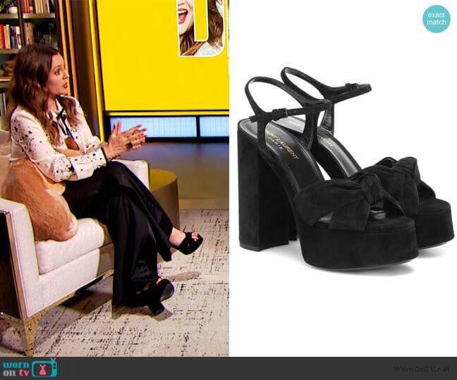 Bianca 125 suede platform sandals by Saint Laurent worn by Drew Barrymore  on The Drew Barrymore Show