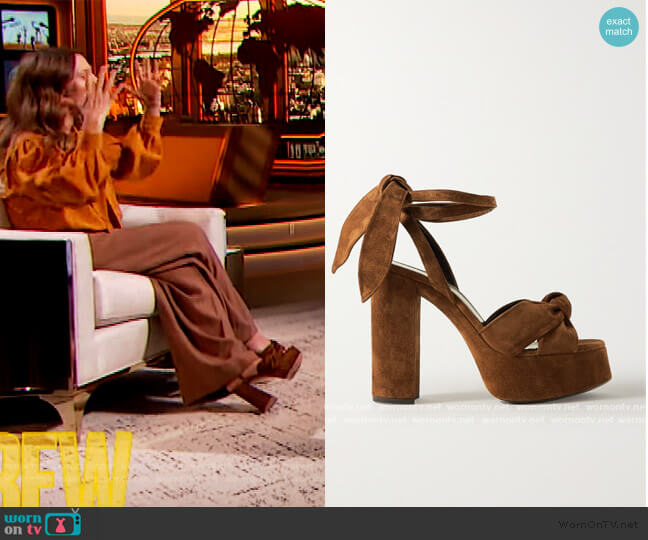 Bianca knotted suede platform sandals by Saint Laurent worn by Drew Barrymore  on The Drew Barrymore Show