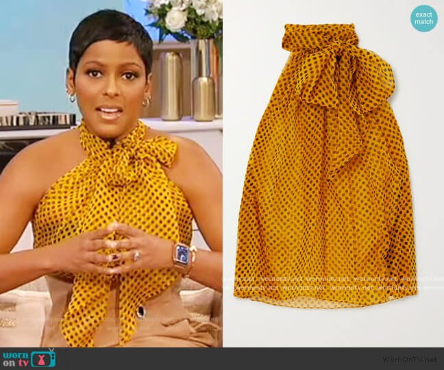 Pussy-bow polka-dot silk-chiffon blouse by Saint Laurent worn by Tamron Hall  on Tamron Hall Show