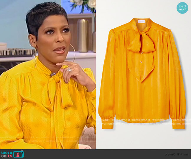 Pussy-bow silk-jacquard blouse by Saint Laurent worn by Tamron Hall  on Tamron Hall Show