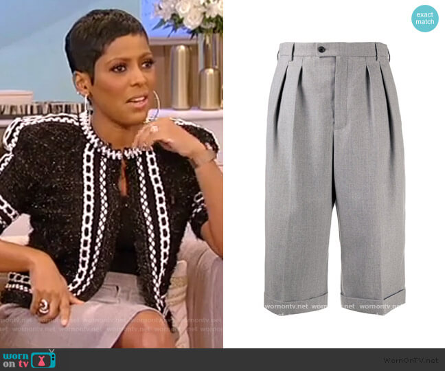 high-waisted wool culottes by Saint Laurent worn by Tamron Hall  on Tamron Hall Show