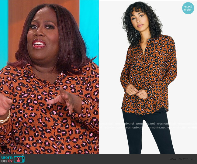 Leopard-Print Long-Sleeve Shirt by Sanctuary worn by Sheryl Underwood  on The Talk