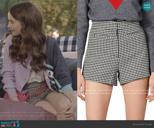Sandro Missey High-Waist Houndstooth Shorts worn by Emily Cooper (Lily Collins) on Emily in Paris
