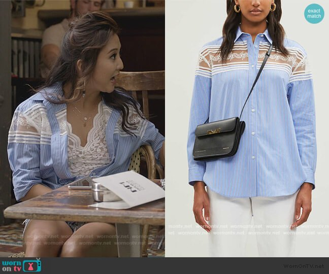 Sheer lace-panel cotton shirt by Sandro worn by Mindy Chen (Ashley Park) on Emily in Paris