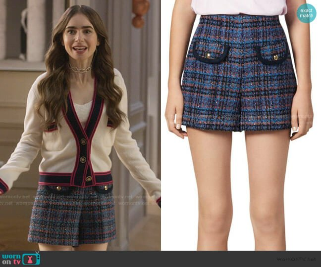 Uma Tweed Shorts by Sandro worn by Emily Cooper (Lily Collins) on Emily in Paris