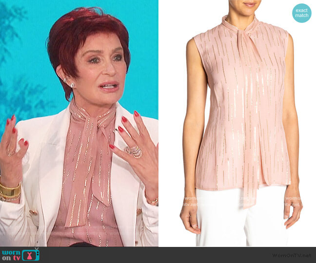 Fancy Striped Tie-Neck Sleeveless Silk Top by Santorelli worn by Sharon Osbourne  on The Talk