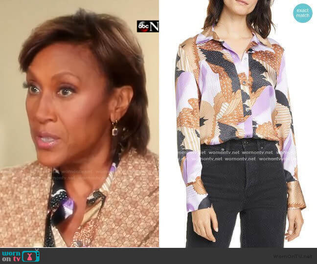 Sedienne Print Silk Blouse by Equipment worn by Robin Roberts  on Good Morning America