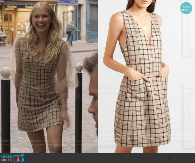 Checked woven mini dress by See by Chloe worn by Camille Razat on Emily in Paris