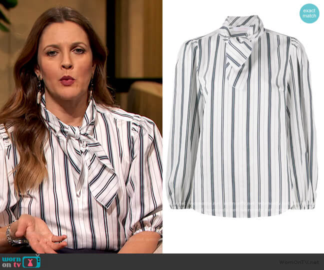 Tie-neck striped blouse by See by Chloe worn by Drew Barrymore  on The Drew Barrymore Show