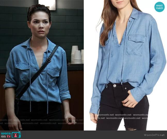 Selena Chambray Shirt by Rails worn by Elizabeth Webber (Rebecca Herbst) on General Hospital