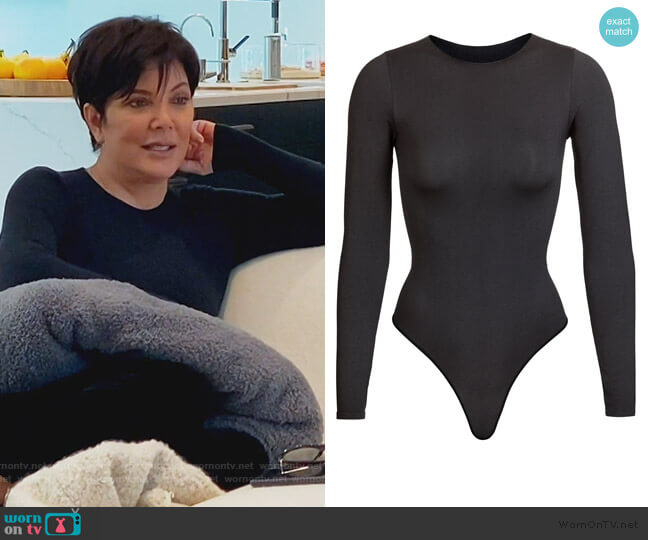 Essential Crew Neck Bodysuit by Skims worn by Kris Jenner  on Keeping Up with the Kardashians