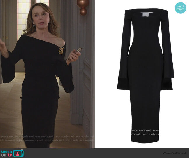 Midi Dress by Solace London worn by Sylvie (Philippine Leroy-Beaulieu) on Emily in Paris