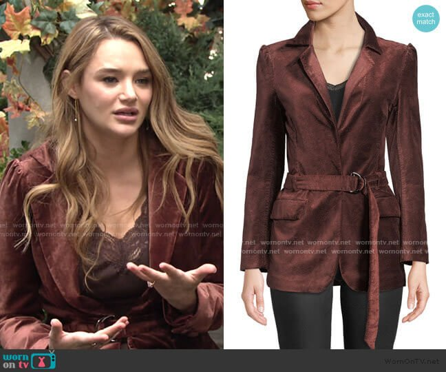 Sorrenti Belted Velvet Blazer by Paige worn by Summer Newman (Hunter King) on The Young & the Restless