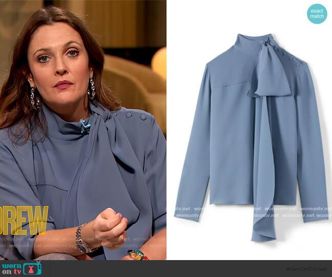 Heavy Silk Georgette Bow Blouse by St. John worn by Drew Barrymore  on The Drew Barrymore Show